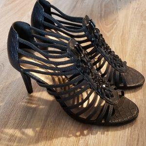 Black Strappy Embellished Black Heel